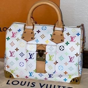 Authentic Louis Vuitton multicolor blanc speedy 30